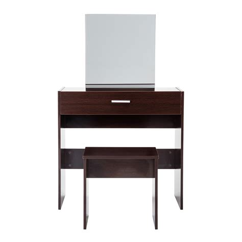Espresso Vanity Table Vanity Espresso Dressing Makeup Table And Stool Desk Set With Mirror Drawer Ebay
