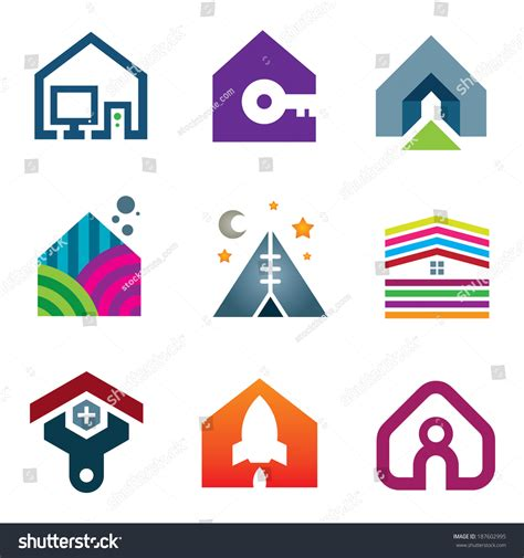 house beautiful logo beautiful modern house creative ideas construction stock