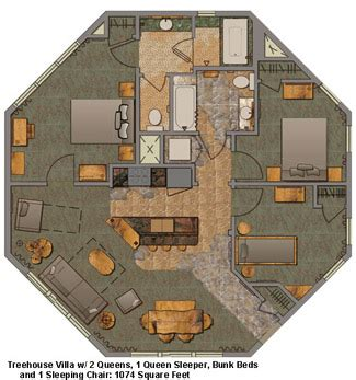 Cabin Floorplan by Disney Saratoga Springs Resort And Treehouse Villas