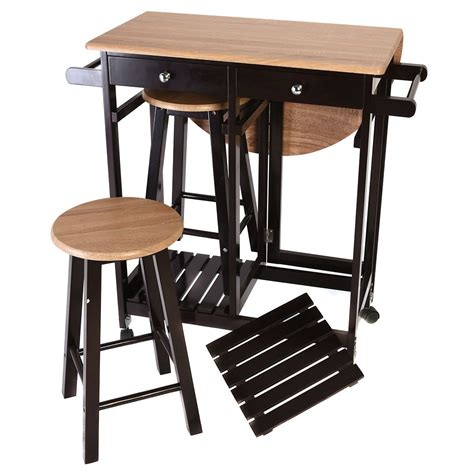 kitchen island tables with stools 3pcs kitchen island set with drop leaf table 2 stools wood rolling bar carts ebay