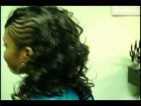 cornrows on side sew in in back braids on 1 side curls on the other youtube