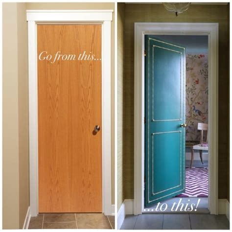 diy do you boring flat interior doors why not paint them an amazing color and add