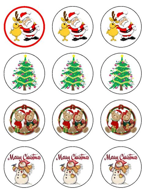 christmas cupcake toppers round x 12 d18