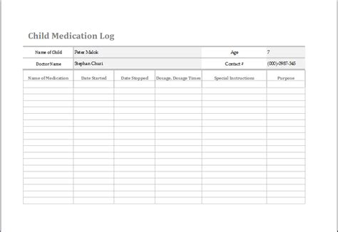 Ms Excel Child Medication Log Template Word Excel Templates Medication Log Template Excel