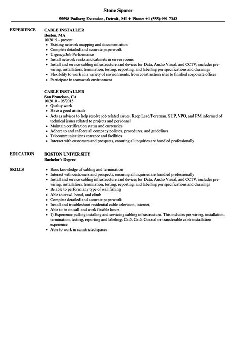 Cable Installer Resume by Cable Installer Resume Sles Velvet