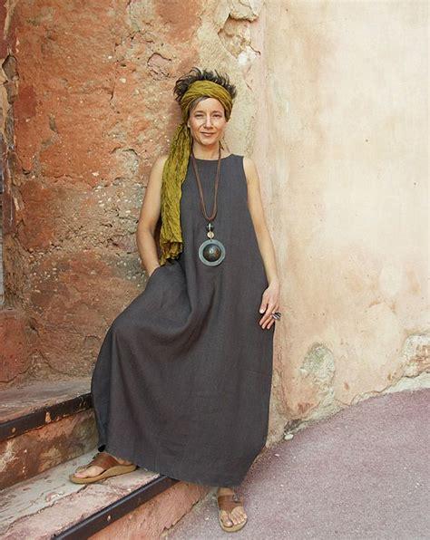 Maxi Violin dress made of linen slate violine amalthee n