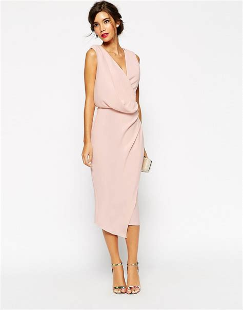 draped dress asos asos wedding wrap drape midi dress at asos