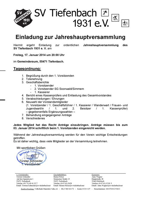 Muster Einladung Zur Jahreshauptversammlung Verein Sv Tiefenbach 1931 E V Einladung Zur Mitgliederversammlung 2014
