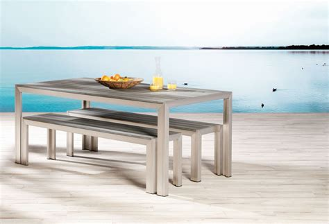 gartenmöbel bank tisch bank set seattle edelstahl look 2 b 228 nke und 1 tisch