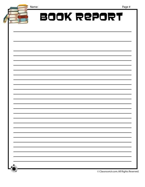 plain printable book report forms blank book report