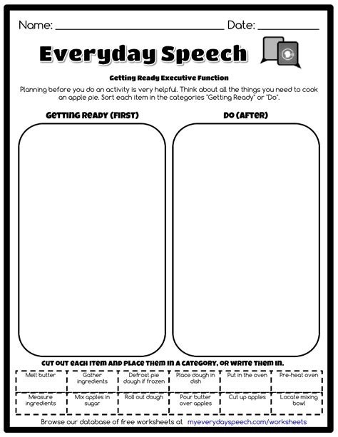 Executive Functioning Worksheets by Getting Ready Executive Function Everyday Speech