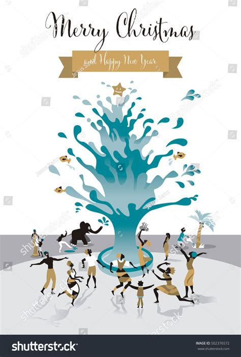 image of winters blessing christmas tree card water tree all human stock vector 502376572