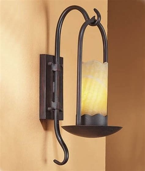 rustic brown candle wall bracket with alabaster shade leds