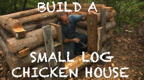 building  small log chicken house  farm hands
