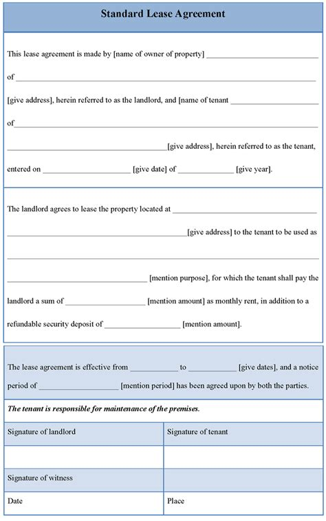 lease agreement template free rental agreement template