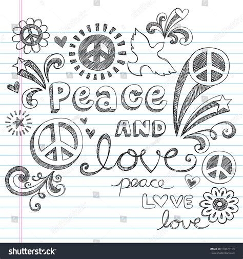 vector doodle sign peace sign dove sketchy notebook stock vector
