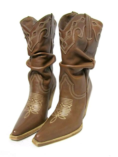 schutz high heel western whiskey brown leather ruched