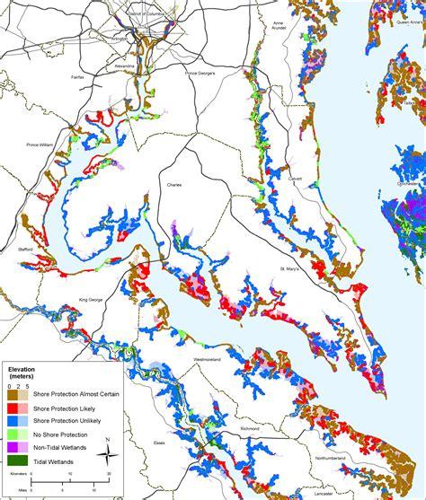 maryland map elevation sea level rise planning maps