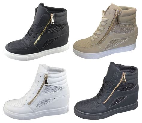womans high top sneakers womens ankle high top diamante wedge heel trainers