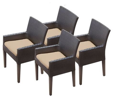 tkc napa wicker patio arm dining chairs  wheat set