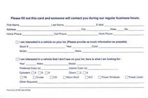 trade show lead form template customer lead card