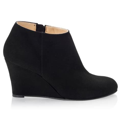 mario giordano black suede leather wedge ankle boots