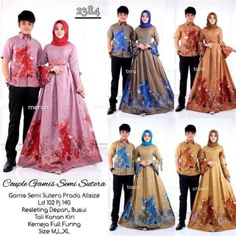 model baju batik gamis couple  semisutera batik
