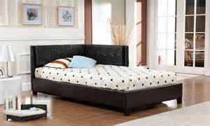 Corner Bed Frame Brown Tufted Design Leather Look Size Corner
