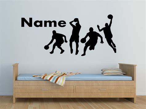 name on bedroom wall personalized name 4 basketball players wall sticker boys