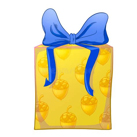 yellow soft christmas gift yellow gift box with blue bow stock illustration image 56773505