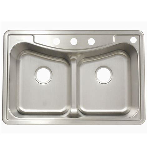 kitchen double sink franke drop in stainless steel 22x33x9 4 hole double basin