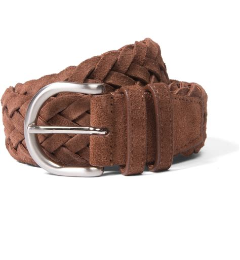 brown suede braided belt by proper cloth