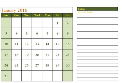 Calendar Template Word 2016