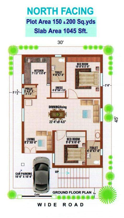 North Facing | floor plan samatha avenues and projects pvt ltd