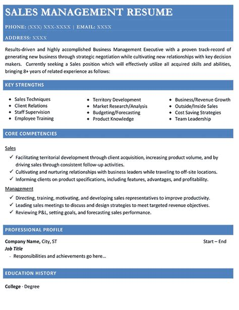 Resume Sles Of Sales Manager Resume Sles Types Of Resume Formats Exles And Templates