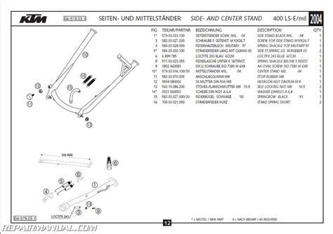 Ktm Parts List 2004 Ktm 400 Ls E Mil Chassis Spare Parts Manual