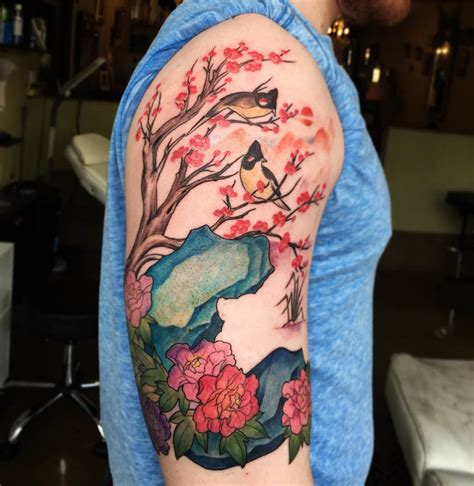 nature quarter sleeve tattoo nature scene with birds cheery blossom best tattoo