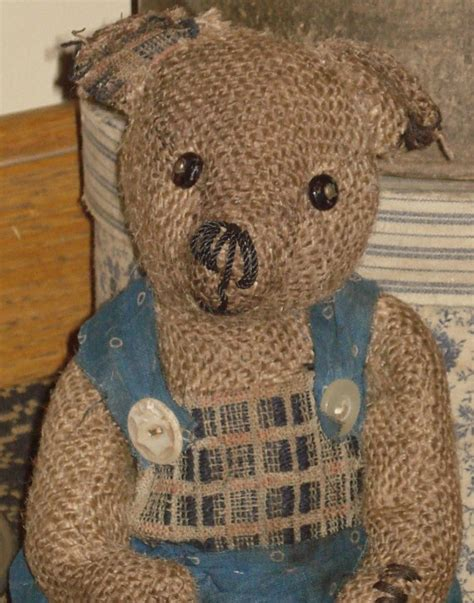 primitive olde handmade burlap teddy by