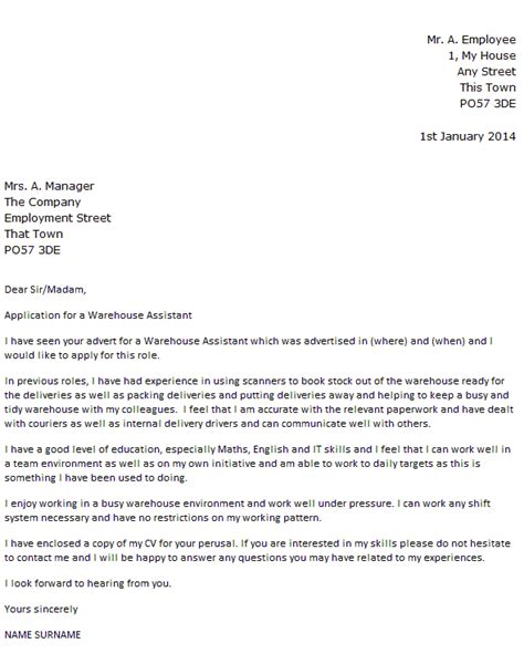 Cover Letter For Cv Warehouse Warehouse Assistant Cover Letter Exle Cover Letters And Cv Exles