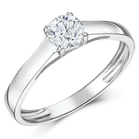 9ct white gold half carat solitaire engagement