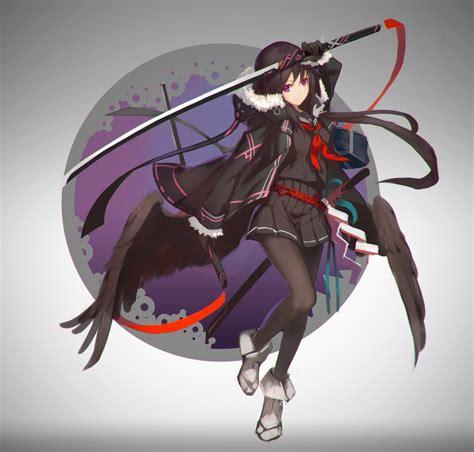 wallpaper anime girl katana school uniform coat