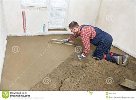 Craftsman Floor Plans Plasterer Concrete Worker At Floor Work Royalty Free Stock