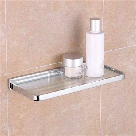 Bathroom Glass Shelves 300mm Esme Chrome Glass Shelf 300mm Hugo Oliver