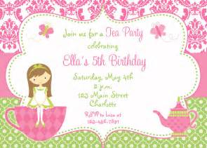 tea party birthday invitation princess tea by