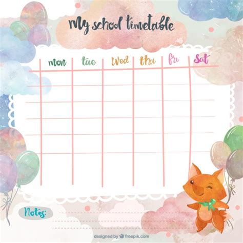 Office Setup Ideas by Watercolor Timetable With A Fox Vector Free Download