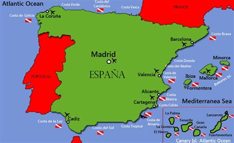 espana map diving in spain information diving diving centers