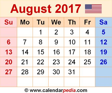 2014 To 2017 Calendar August 2017 Calendars For Word Excel Pdf