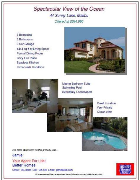 open house flyers with property features and pictures of