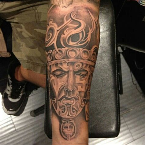 quarter sleeve aztec tattoo pin aztec sleeve faces tattoo designs tattoos on pinterest
