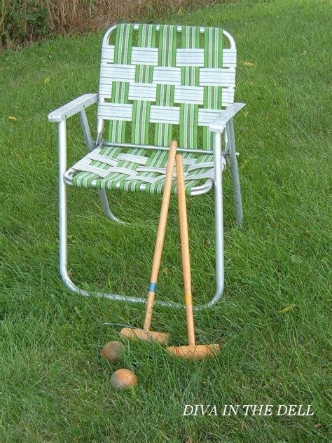 Lawn Chair Strapping by Vintage Aluminum Lawn Chair With Blue Webbing Lawn